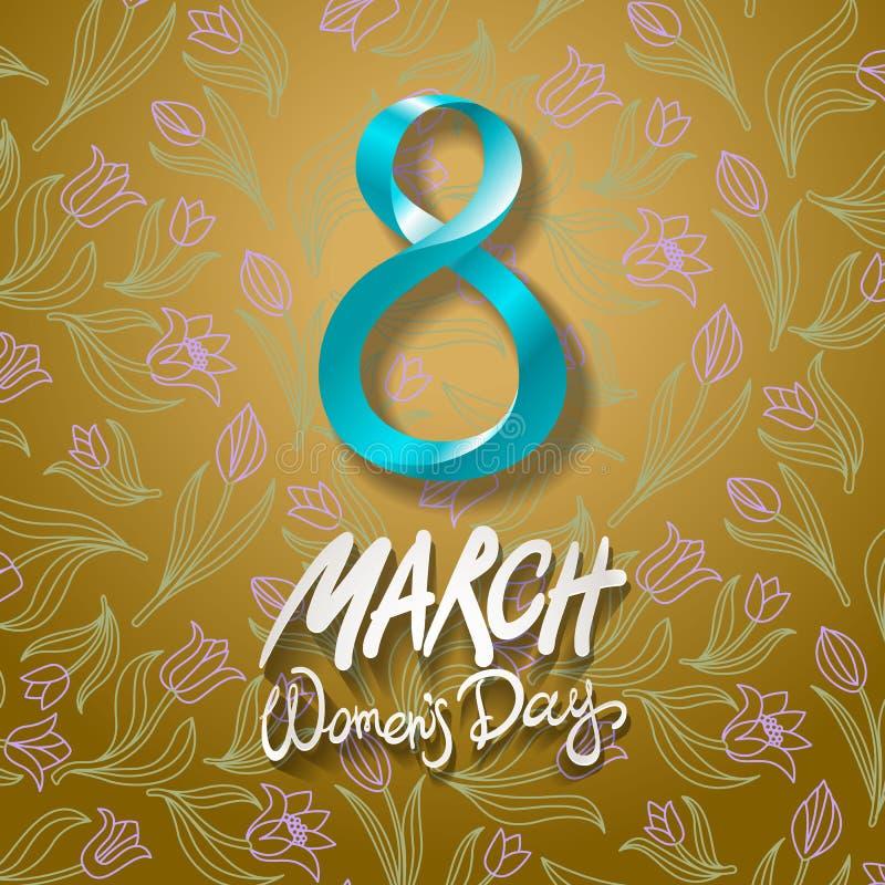 8 de março cartão O dia da mulher internacional Vetor arte da tulipa da flor do fundo ilustração royalty free