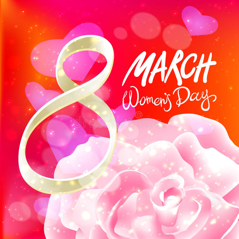 8 de março cartão O dia da mulher internacional Vetor A cor-de-rosa levantou-se Fundo da luz vermelha ilustração do vetor
