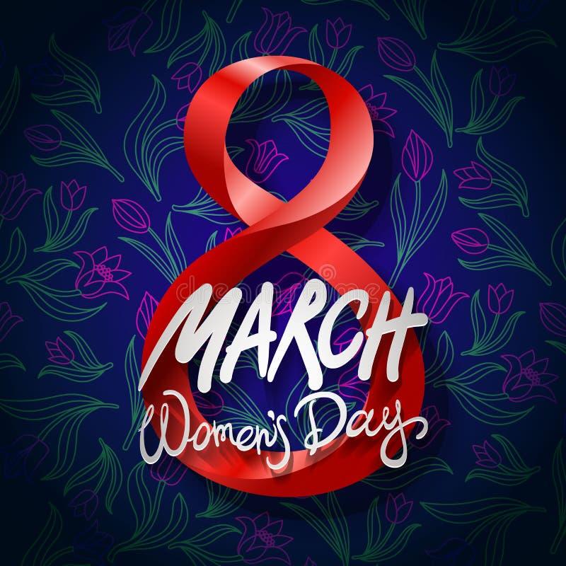 8 de março cartão O dia da mulher internacional Vetor Fundo preto ilustração stock
