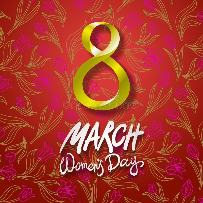 8 de março cartão O dia da mulher internacional Vetor Fundo vermelho Tulipa da flor ilustração stock