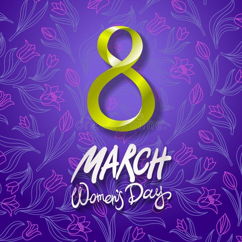 8 de março cartão O dia da mulher internacional Vetor Fundo violeta Tulipa da flor ilustração royalty free