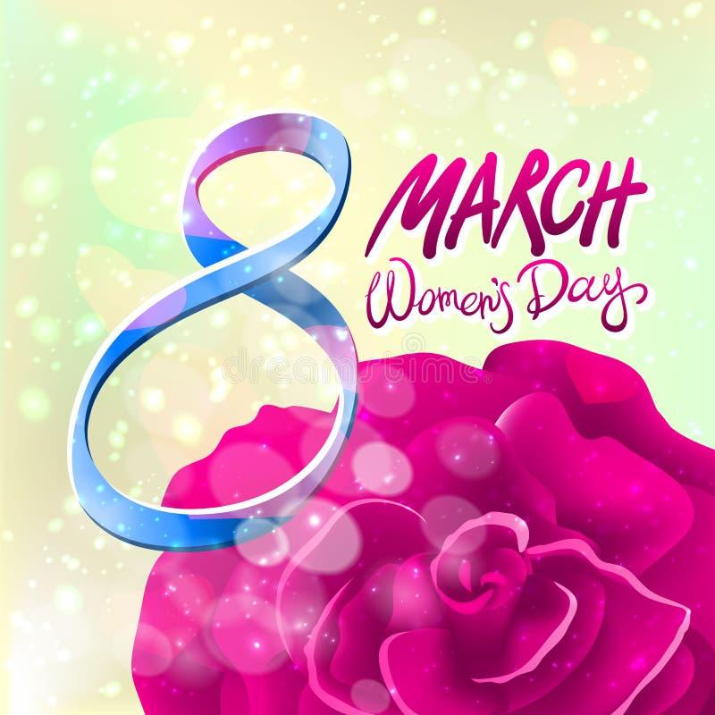 8 de março cartão O dia da mulher internacional Vetor O vermelho levantou-se Fundo claro ilustração stock