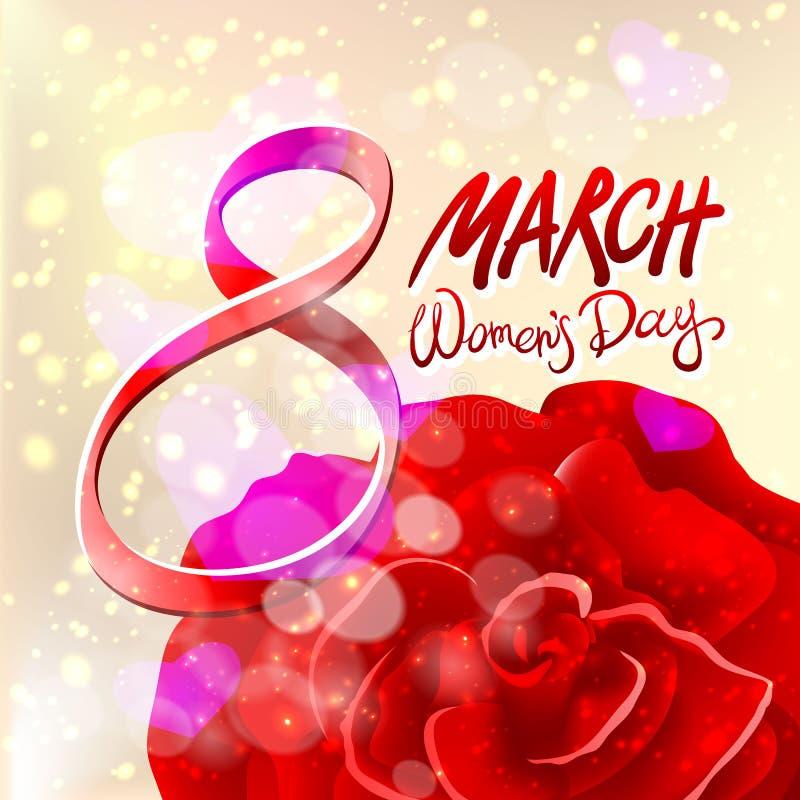 8 de março cartão O dia da mulher internacional Vetor O vermelho levantou-se Fundo claro ilustração royalty free