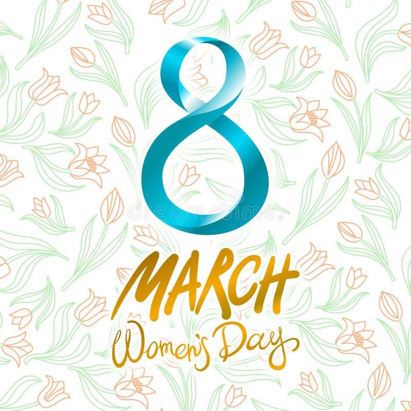 8 de março cartão O dia da mulher internacional Vetor tulipa da flor do fundo ilustração do vetor