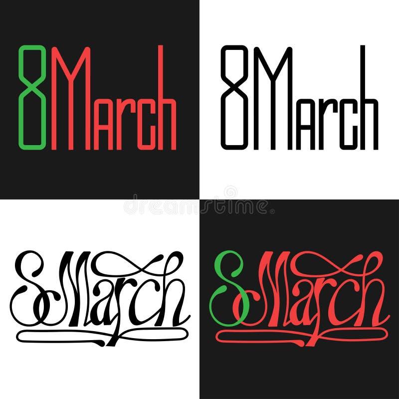 8 de março, com dia internacional das mulheres s Cartão e cartaz ilustração royalty free