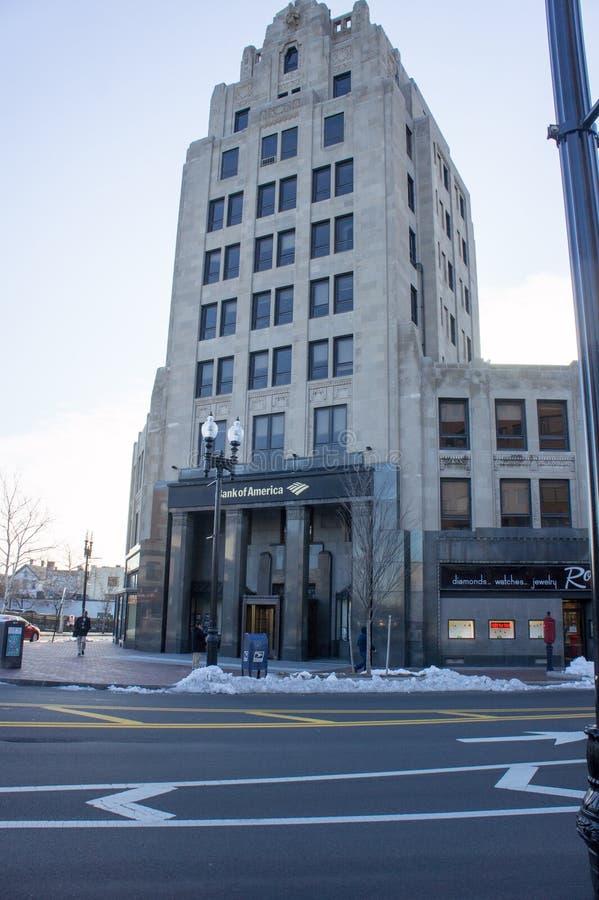 12 de março de 2018, construção de Banco Americano em Quincy miliampère imagens de stock