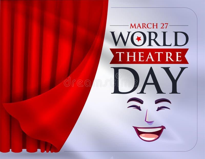27 de março, dia do teatro do mundo, cartão do conceito, com cortinas e cena com v vermelho ilustração royalty free