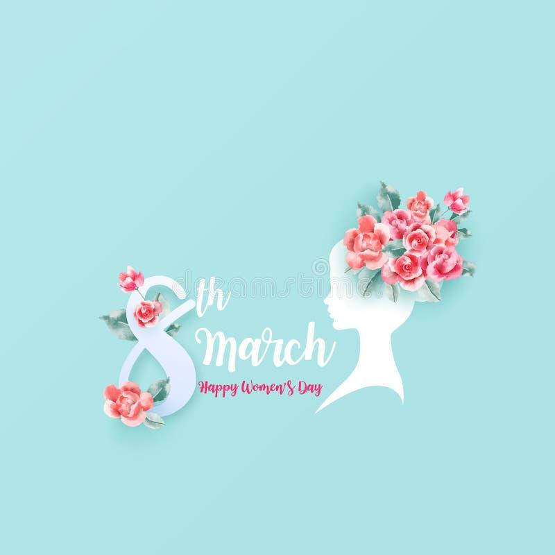 8 de março Dia feliz do ` s da mulher Silhueta de uma mulher com rosas cor-de-rosa Ilustração EPS10 do vetor ilustração royalty free