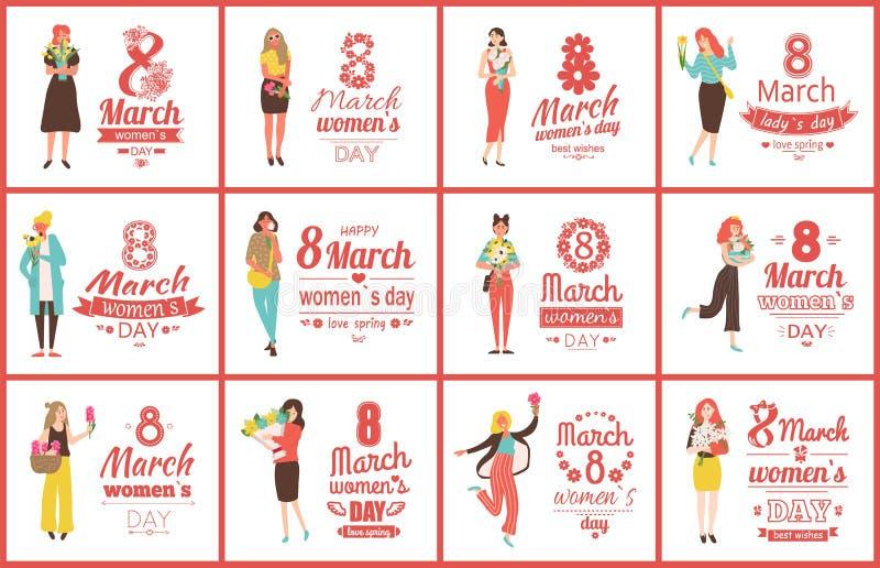 8 de março grupo de cumprimento dos cartazes do dia das mulheres internacionais ilustração royalty free