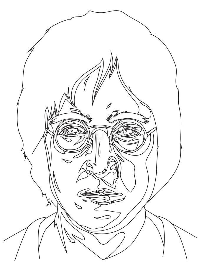 7 de março de 2019 Ilustração tirada mão do estoque do vetor de John Lennon nos vidros ilustração do vetor