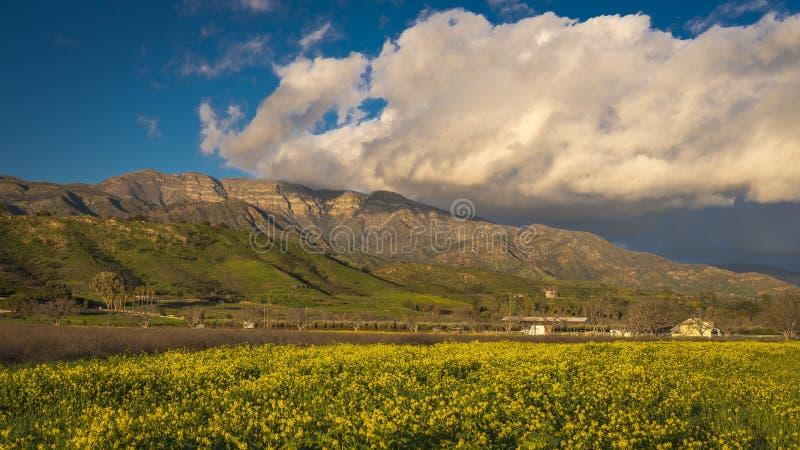7 DE MARÇO DE 2019, MALIBU, LA, CA, EUA - paisagem montanhosa de Ojai com Greenfield e nuvens do por do sol acima da mostarda e d imagens de stock