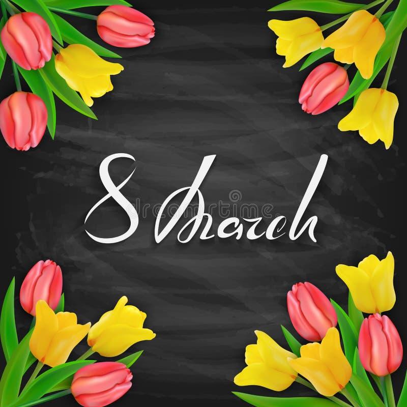 8 de março o dia das mulheres no fundo preto do quadro com tulipas ilustração do vetor