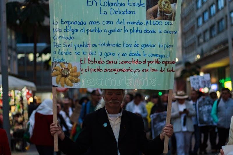 18 de março de 2019 - março para a defesa do JEP, jurisdição especial para o ¡ Colômbia de Bogotà da paz fotografia de stock royalty free