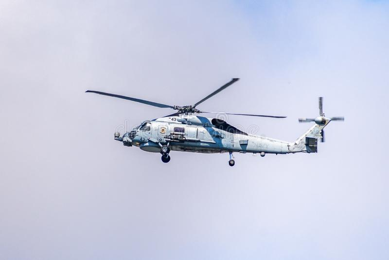 19 de março de 2019 San Diego/CA/EUA - helicóptero de voo da marinha imagem de stock