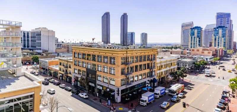 19 de março de 2019 San Diego/CA/EUA - paisagem urbana no quarto de Gaslamp em San Diego do centro fotos de stock royalty free