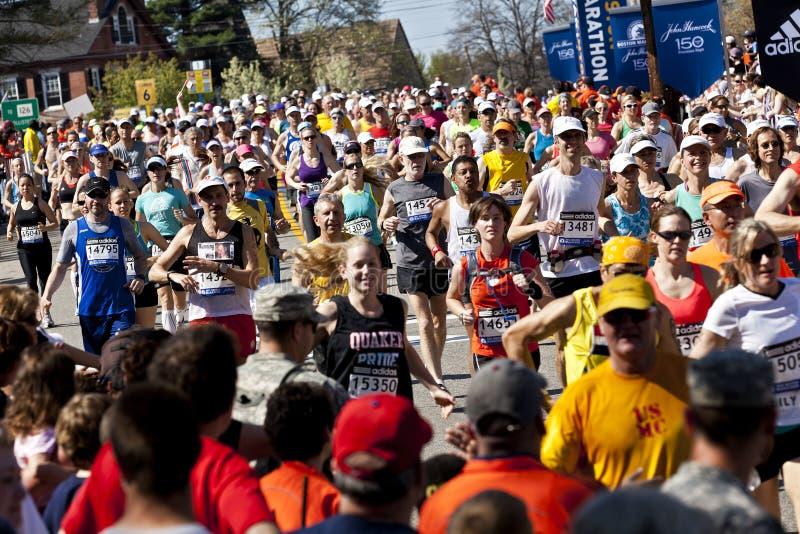 De Marathon van Boston stock afbeeldingen