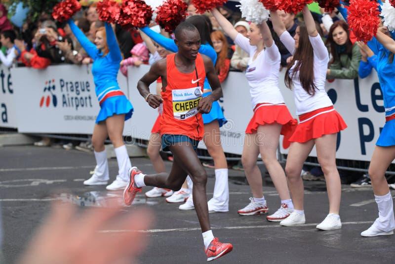De marathon 2014 van Evans Kiplagat Chebet - van Praag royalty-vrije stock afbeeldingen