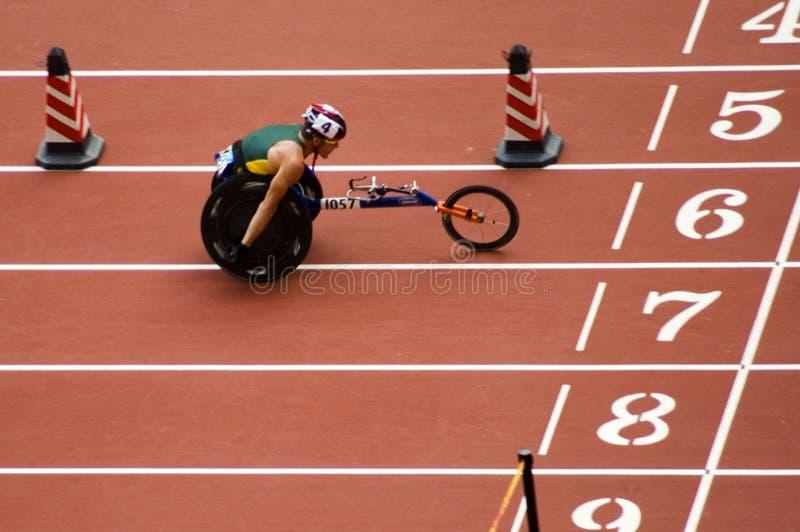 De marathon van mensen in de Spelen van Peking Paralympic stock afbeelding