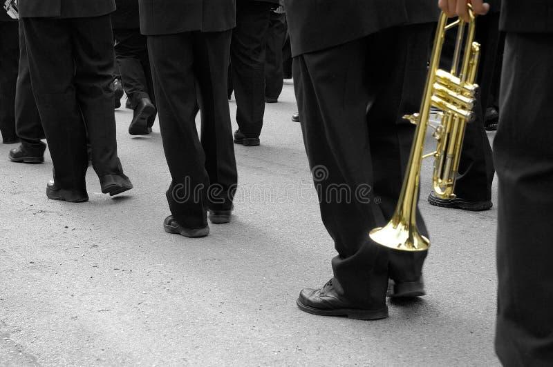 De marcherende Trompetter van de Band royalty-vrije stock afbeeldingen