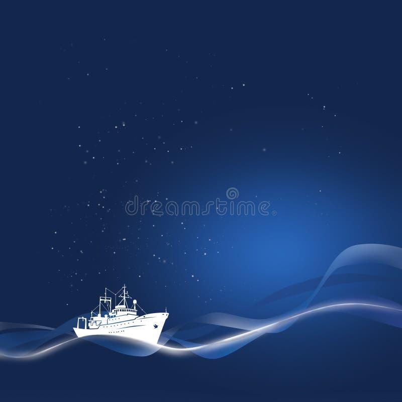 De mariene Prentbriefkaar van het Nieuwjaar royalty-vrije illustratie