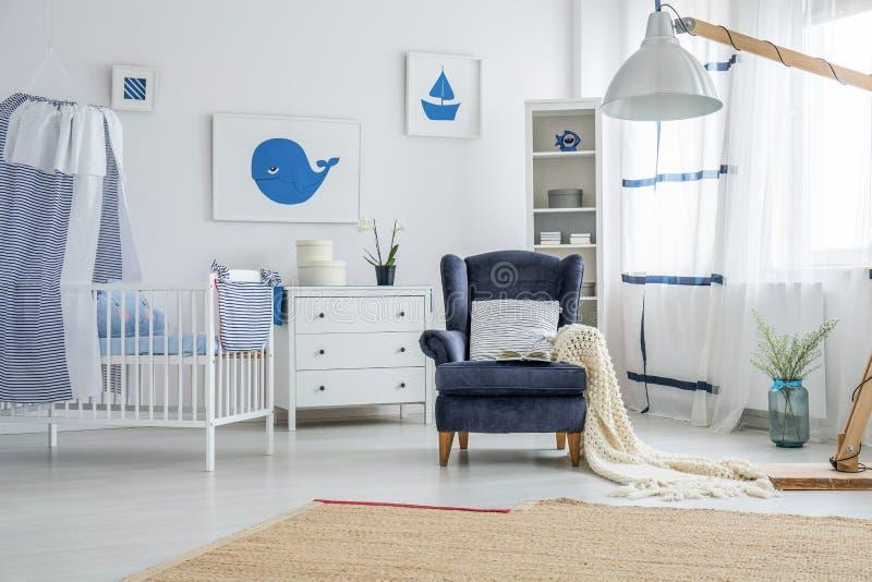 De mariene slaapkamer van de stijlbaby ` s stock foto's