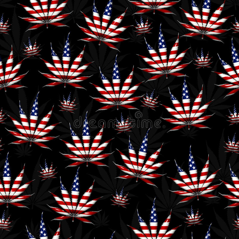 De marihuana in het het Bladpatroon van de V.S. herhaalt Achtergrond stock afbeelding