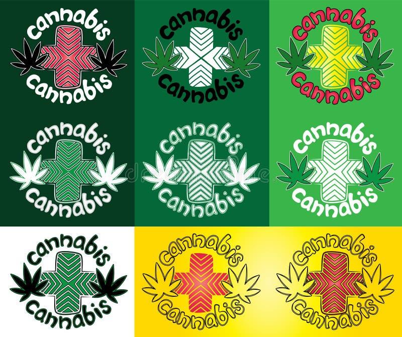 De marihuanablad van de Ganjacannabis met de zegelillustratie van het ontwerp dwarssymbool royalty-vrije illustratie