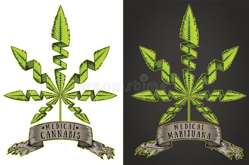 De marihuanacannabis wiedt grungy aanplakbord van het bannerlint stock illustratie