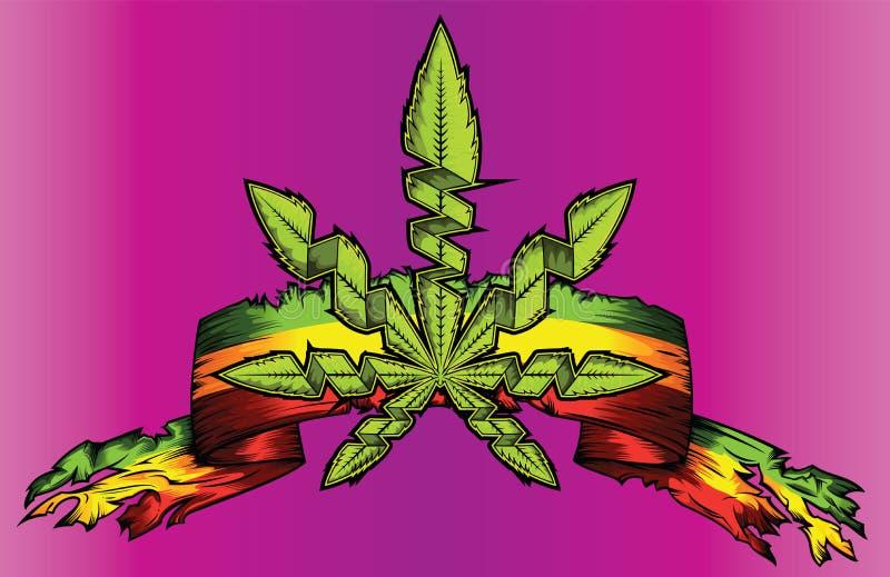 De marihuanacannabis wiedt grungy document lintaanplakbord royalty-vrije illustratie