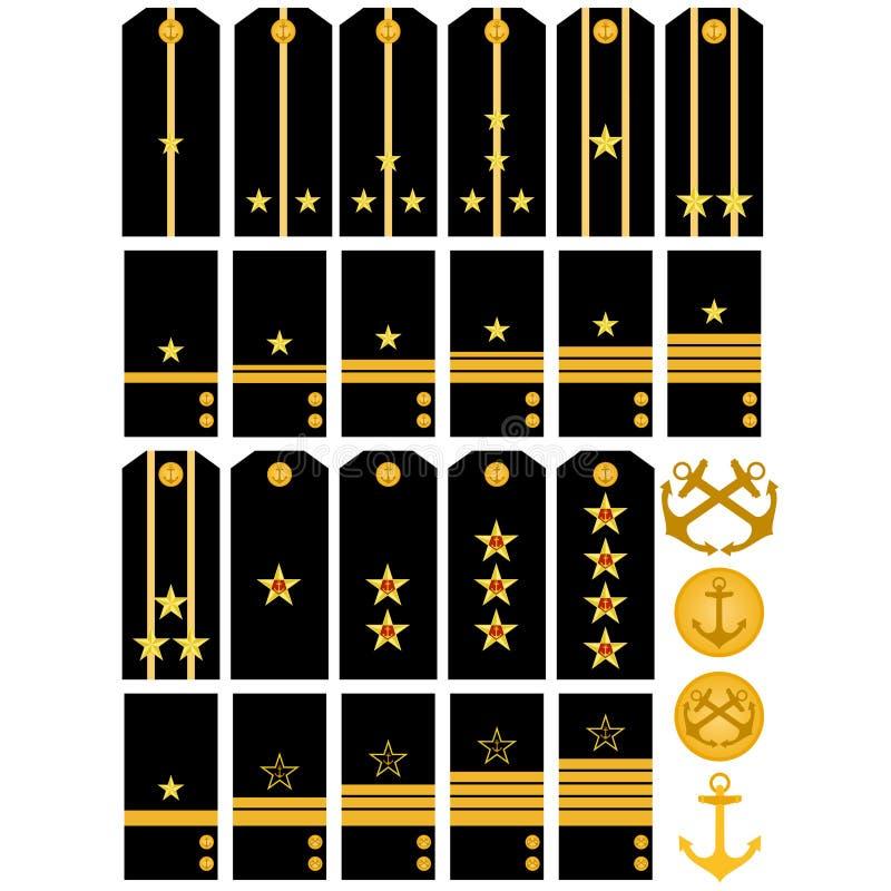 De marine Russisch leger van epauletten en van strepen royalty-vrije illustratie