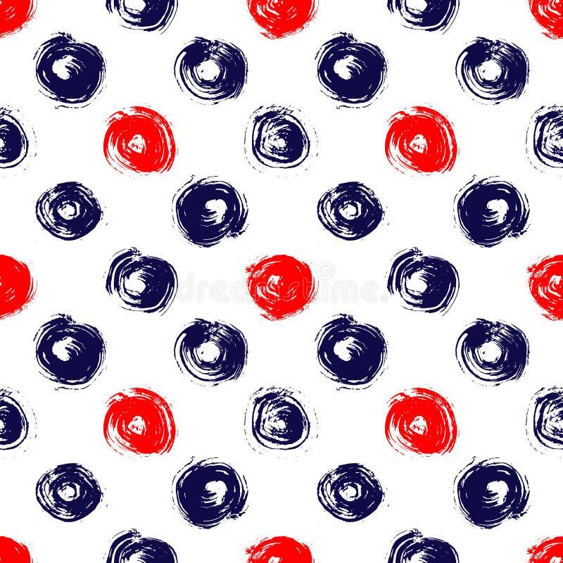 De marineblauwe rode en witte borstel van de grungecirkel strijkt geometrisch naadloos patroon, vector royalty-vrije illustratie