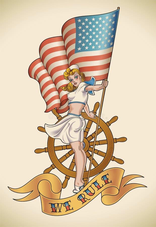 De Marinemeisje van de V.S. vector illustratie