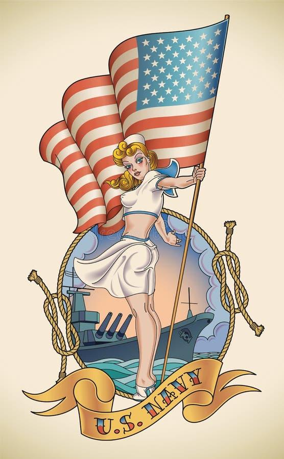 De Marinemeisje van de V.S. royalty-vrije illustratie