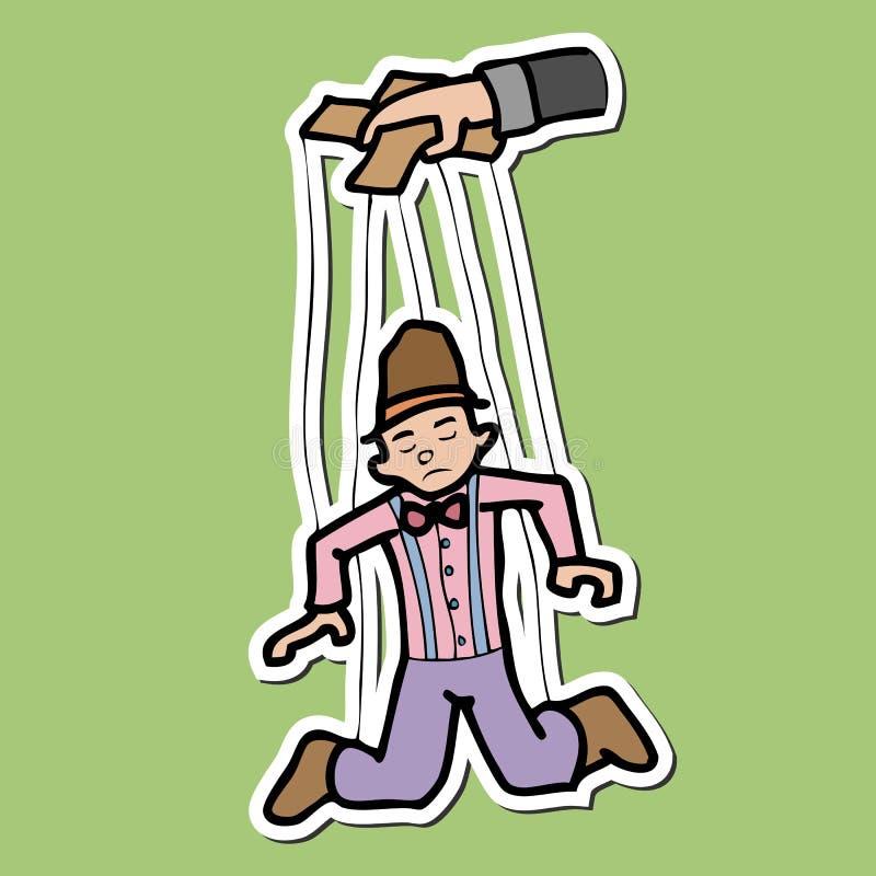 De marionet en manipuleert hand stock illustratie