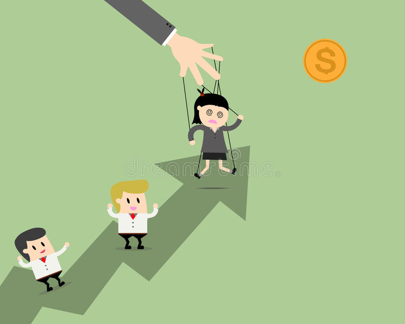De marionet van de onderneemstersleider op kabels aan doel en groepswerk royalty-vrije illustratie
