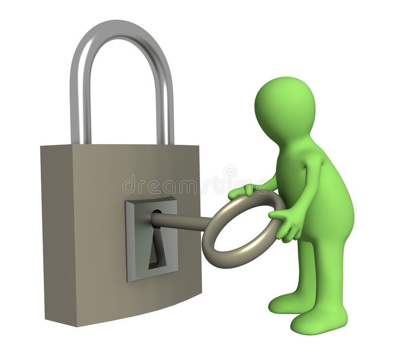 De marionet van de persoon het openen slot door een sleutel royalty-vrije illustratie