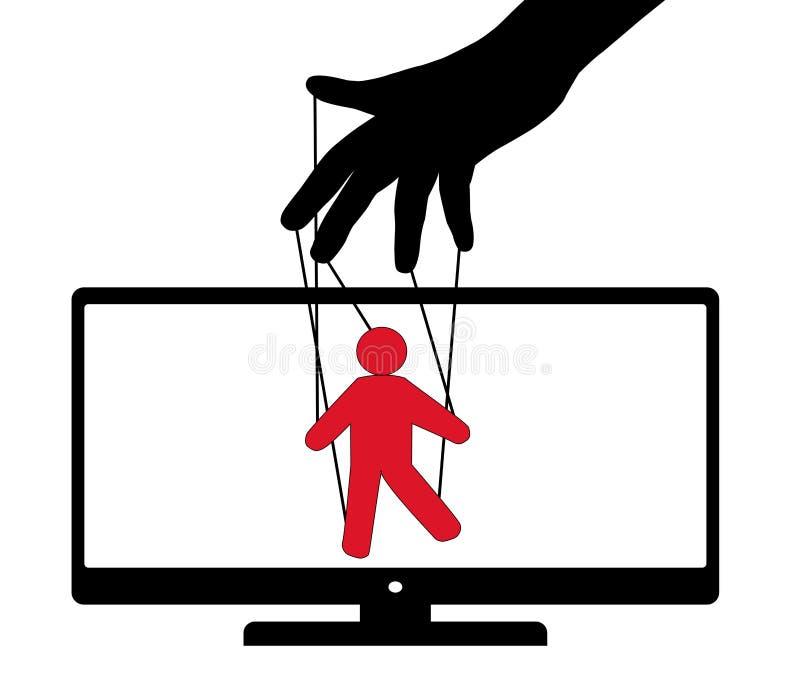 De marionet van TV van het marionettenspel De teleurstelling van het poppentheaterpubliek Vector illustratie royalty-vrije illustratie