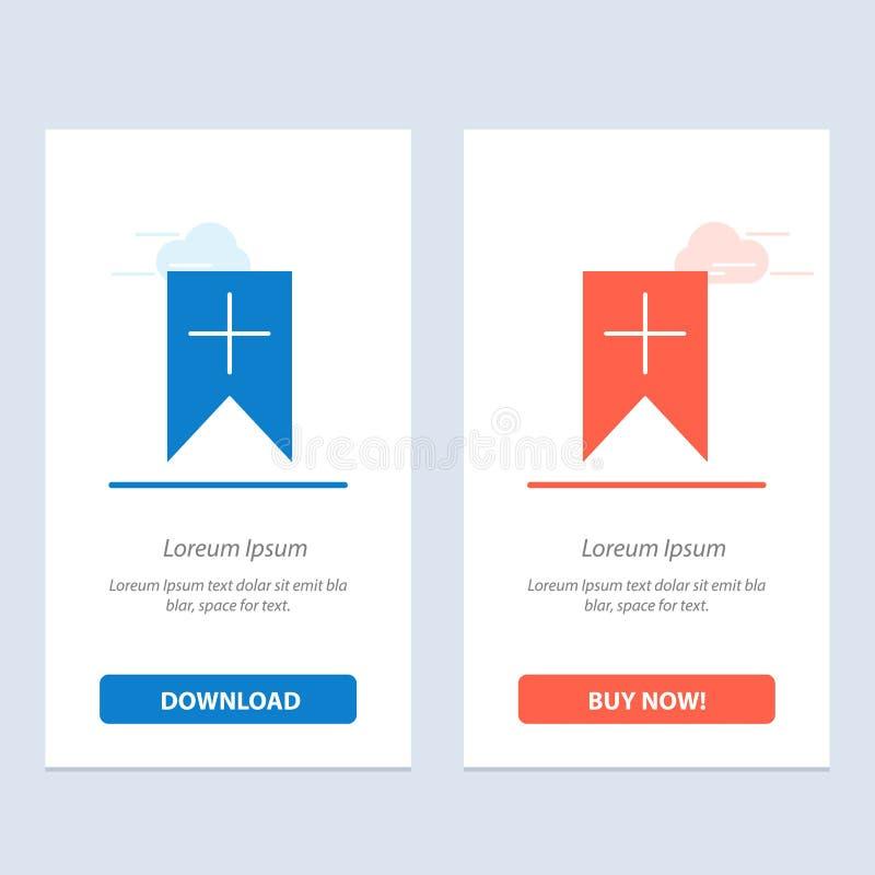 De markering, plus, de Interface, de Gebruikers Blauwe en Rode Download en kopen nu de Kaartmalplaatje van Webwidget stock illustratie