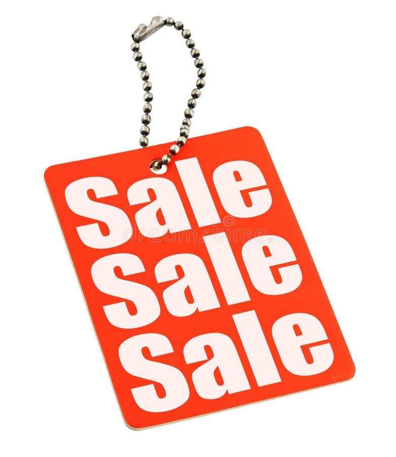 De markering van de verkoop op wit royalty-vrije stock foto's