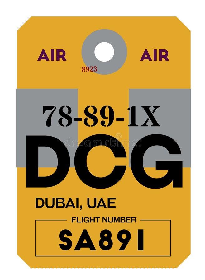 De markering van de de luchthavenbagage van Doubai stock illustratie