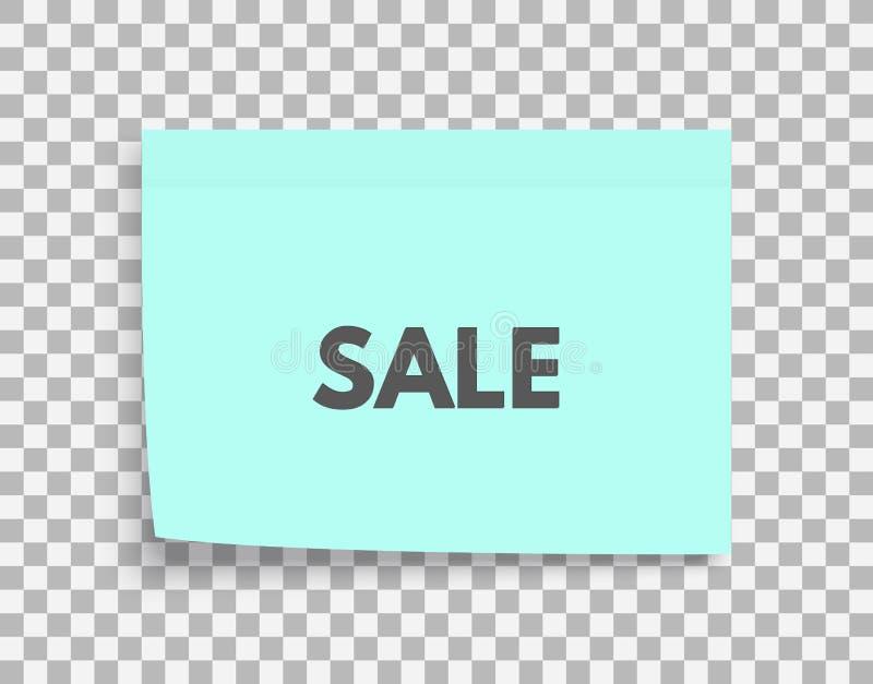 De markering van de verkoop Het ontwerp van de bevorderingscoupon voor het winkelen Postnotadocument blad Kleverige sticker Het v stock illustratie