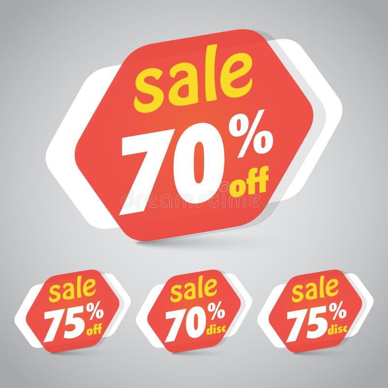 De Markering van de verkoopsticker voor Marketing Kleinhandelselementenontwerp met weg 70% 75% Vector illustratie vector illustratie