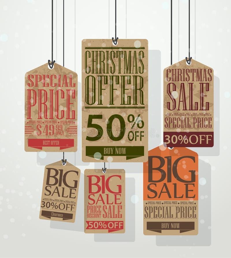 De markeringen van de Kerstmisverkoop. Uitstekende stijlmarkeringen en etiketten stock illustratie