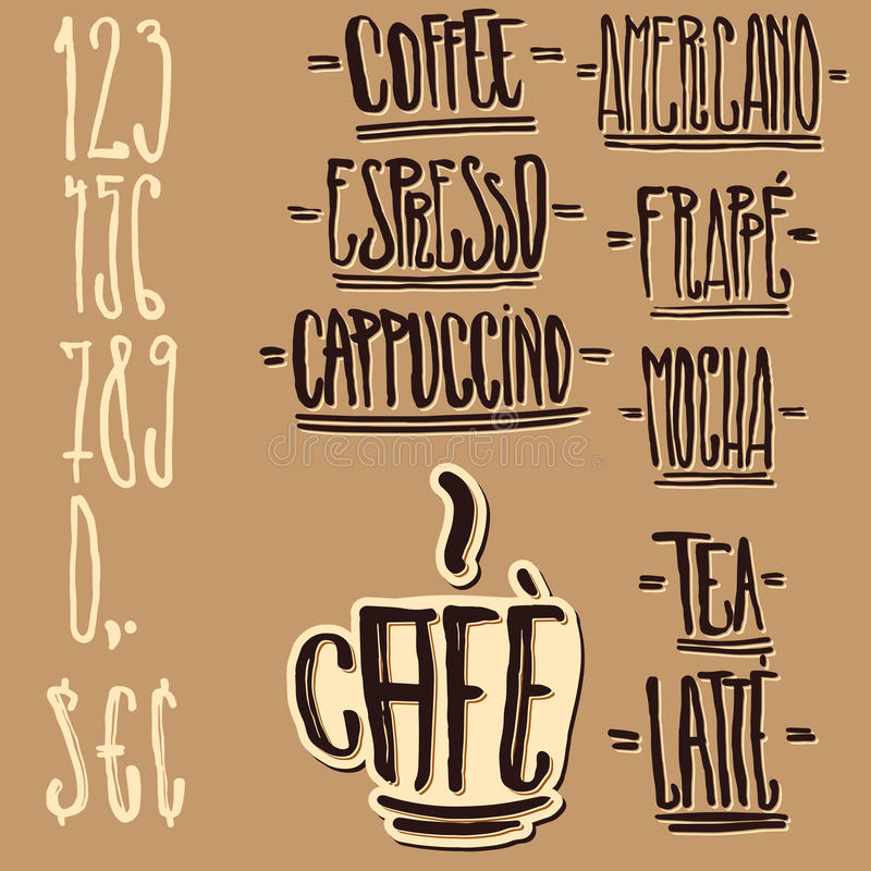 De Markeringen van de Koffie van de douane en de Elementen van het Ontwerp royalty-vrije illustratie