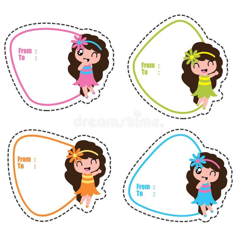 De markeringen van de verjaardagsgift met leuke Hawaiiaanse meisjes op kleurrijke kaders vector illustratie