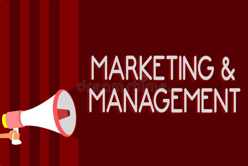 De Marketing en het Beheer van de handschrifttekst Concept die proces om strategieën voor product betekenen te ontwikkelen die co stock illustratie