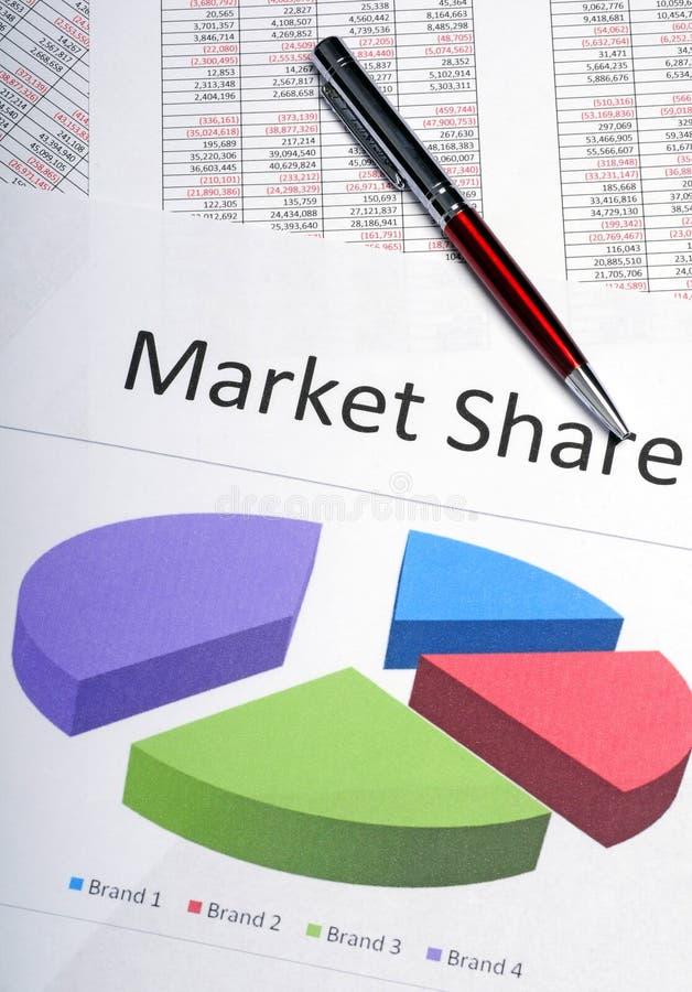 De marketing van cirkeldiagram dat marktaandeel toont stock fotografie