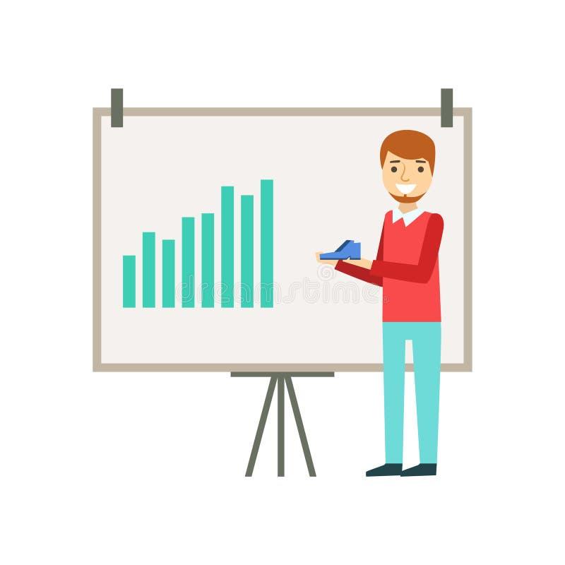 De marketing van de Grafiek van Managerdoing presentation with over Schoenen, Coworking in Informele Atmosfeer in Modern Ontwerpb vector illustratie