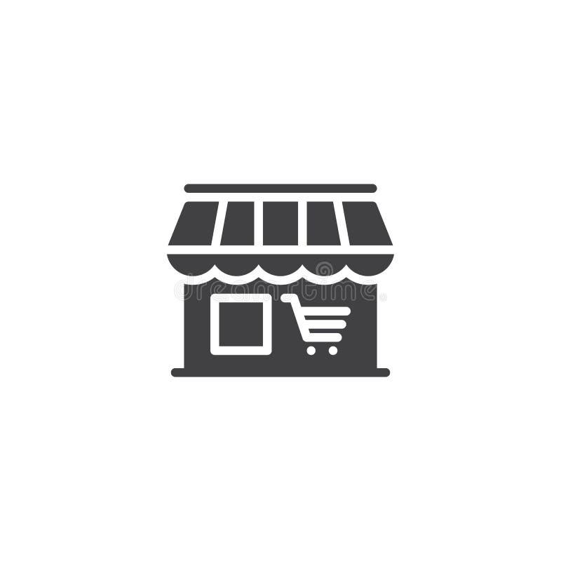De markt, de vector van het winkelpictogram, vulde vlak teken, stevig die pictogram op wit wordt geïsoleerd vector illustratie