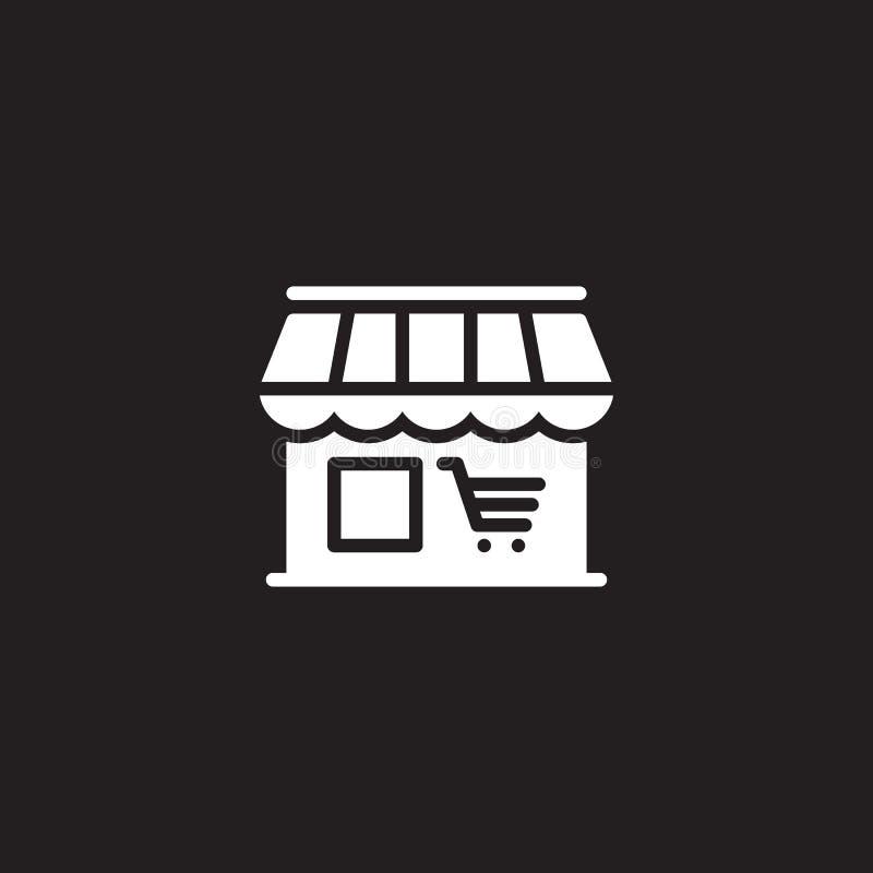 De markt, de vector van het winkelpictogram, vulde vlak teken, stevig wit die pictogram op zwarte wordt geïsoleerd royalty-vrije illustratie